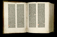 Image of the Gutenberg Bible open to pages 006 verso and 007 recto.