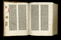 Image of the Gutenberg Bible open to pages 017 verso and 018 recto.