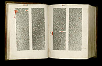 Image of the Gutenberg Bible open to pages 024 verso and 025 recto.